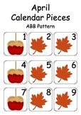 April / Autumn / Fall Calendar Pieces for Numeracy Wall and Calendar Math Board