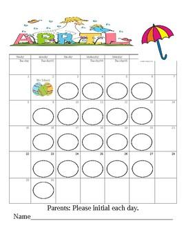 April Behavior Chart