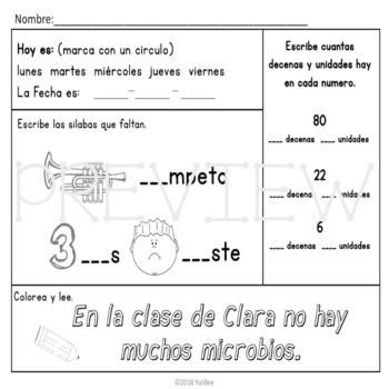 K-2 Bilingual Morning Work (April)