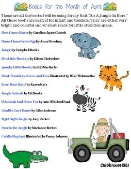 "April Book List- Unit ""It's A Jungle In Here"""