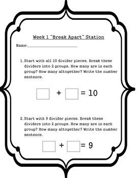 Break Apart Numbers 1-19 Math Station Week 1-2-3-4 Spring Activity