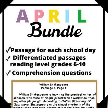 April Bundle-Day in History Differentiated Reading Passage Ongoing Assessment