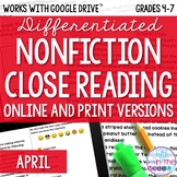 April COMBO Differentiated Nonfiction Close Reading Texts