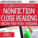 April Nonfiction Close Reading Texts and Questions - Print