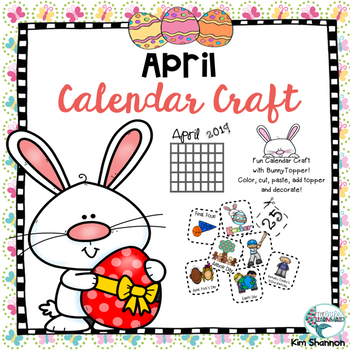 April Calendar Activity with Holiday, Easter, Earth Day icons and a topper!