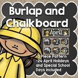April Calendar: Burlap and Chalkboard