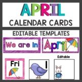 April Pocket Chart or Linear Calendar Cards