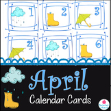 April Calendar Cards {rain boot cloud umbrella} {Morning Math} Number Corner