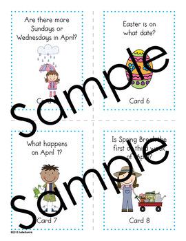 April Calendar Center Task Cards - Calendar Activity