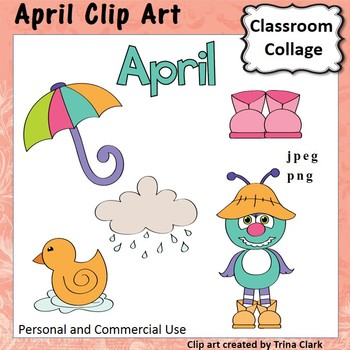 April Calendar Clip Art - Color - personal & commercial use