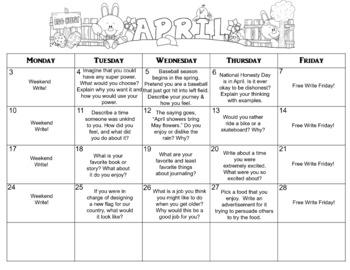 April Calendar Editable Journal Prompts