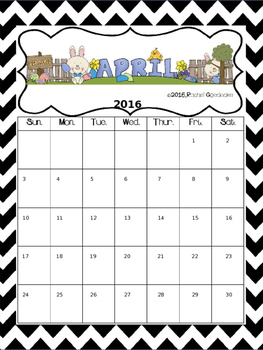 April Calendar (FREEBIE!)