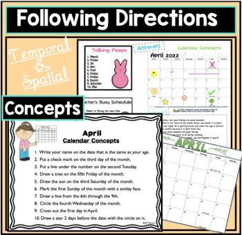 April Calendar Language Activities - Free Updates
