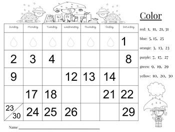 April Calendar Number Writing Practice