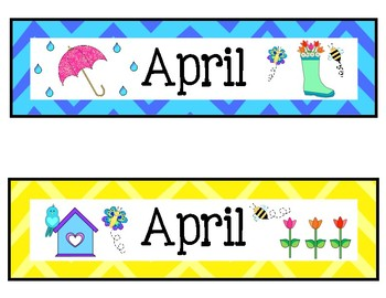 April Calendar Numbers (6 sets)