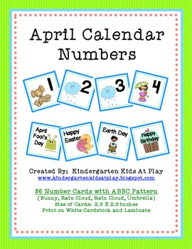 April Calendar Numbers with Patterns