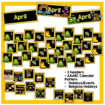 April Calendar Pieces - Black Set