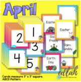 April Calendar Pieces - Rainy Day Themed - ABCD Pattern