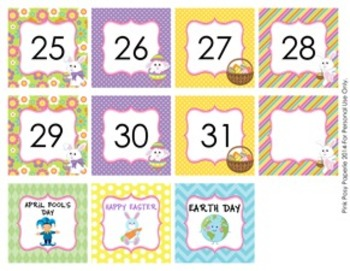 April Calendar Set - Numbers - Days of the Week