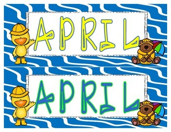 April Calendar Set Freebie