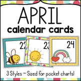 April Calendar Numbers - Monthly Calendar Cards Set