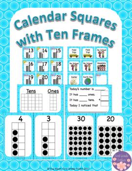 April Calendar Squares Set With Ten Frame That Encourages Math Talk