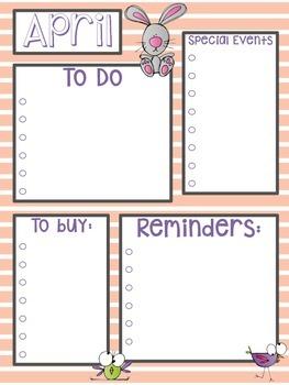 April Calendar & To Do List