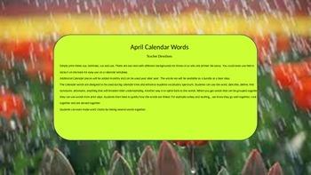 April Calendar & Daily Vocabulary