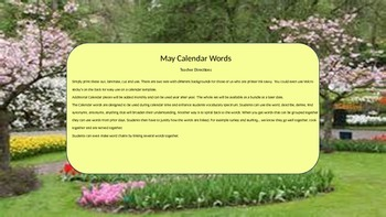 May Calendar & Daily Vocabulary