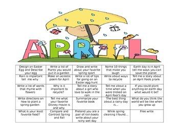 April Calendar Writing