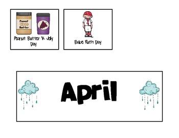 April Calendar and Activity