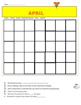 April Calendar worksheet free