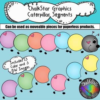 April Caterpillar Segments Clip Art –Chalkstar Graphics