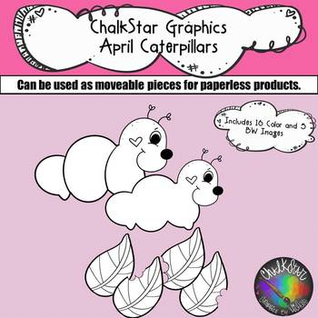 April Caterpillars Clip Art –Chalkstar Graphics
