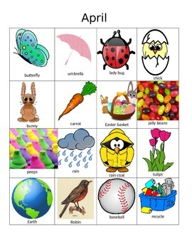 April Clip Art and Word Chart