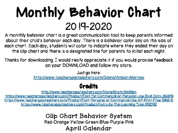 April Clip Chart Behavior Calendar
