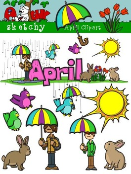 April Clipart / Graphics and Monthly Header