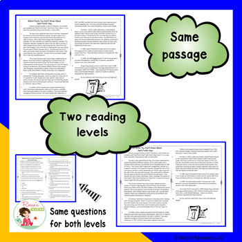Reading Comprehension Passages and Questions - April with April Fool's Day