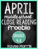 Close Reading - April FREE