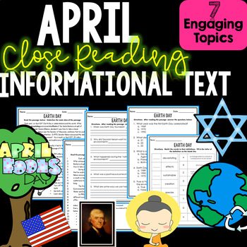 April Close Reading Informational Non-fiction Text - Comprehension and More!