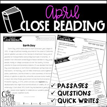 April Close Reading | Spring Close Reading Passages | Quick Writes