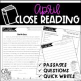 April Close Reading   Spring Close Reading Passages   Quick Writes