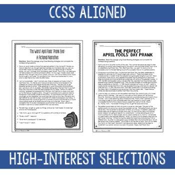 April Close Reads for BIG KIDS Common Core Aligned