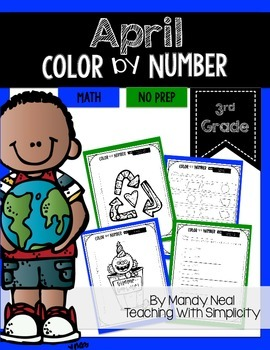 April Color By Number for 3rd Grade Math