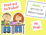April Color By Numbers Packet! Print and Go!