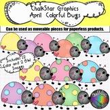 April Colorful Lady Bugs Clip Art –Chalkstar Graphics