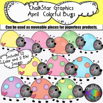April Colorful Lady Bugs Clip Art –Chalkstar Graphics