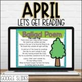 April DIGITAL Lets Get Reading 2nd Grade Reading Unit for Google slides