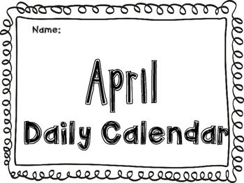 April Daily Calendar Activity Jounral