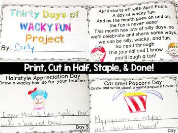 April Daily Journal: 30 Days of Wacky Fun: Print, Cut, Go!